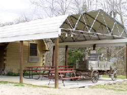 Wooden Wagon and Covered picnic area.