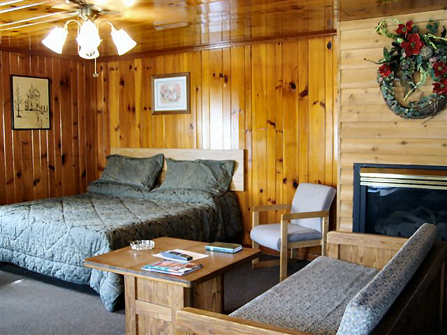 2 Bedroom Cabin: Living Room has a King bed, two queen sofa sleepers and a regular sofa, gas fireplace, TV/VCR/DVD
