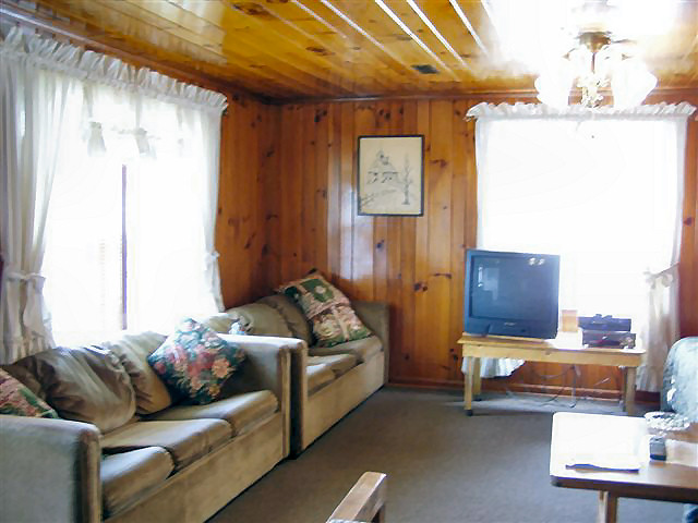 2 Bedroom Cabin: Living Room two queen sofa sleepers.
