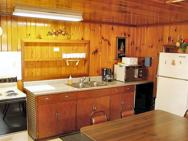 2 Bedroom Cabin: Full kitchen-refrigerator, stove, coffee maker, microwave, dishwasher, dishes, pot and pans.