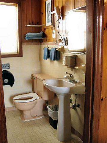 2 Bed Kitchenette: Bath has toilet, sink and tub/shower combination.