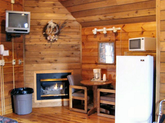 Big Cabin: Small refrigerator, coffee maker, microwave, NO STOVE. Gas fireplace.