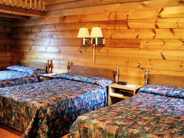Big Cabin: Non-smoking, one room, 18 x 24, either two queen beds or three double beds,