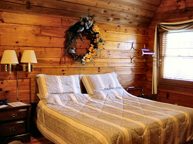 Cabin Hot Tub: Non-smoking, one room, 18 x 24, with King bed.