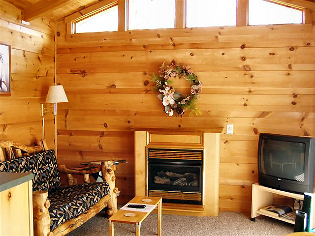 Rendenzvous Cabin: Small dining area, living room with TV and gas fireplace.