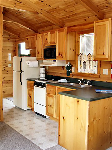 Rendenzvous Cabin: Full kitchen-refrigerator, microwave, dishwasher, dishes, pots and pans. Small dining area.