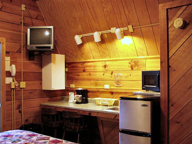 River Cabin: Efficiency kitchen-small refrigerator, coffee maker, microwave, dishes, NO STOVE.