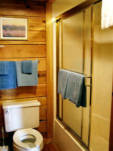 River Cabin: Bath has toilet, sink and tub/shower combination.